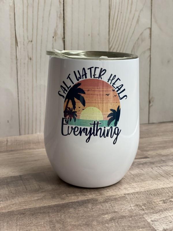 Salt Water Heals Everything stemless wine tumbler