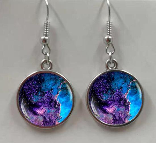Purple Galaxy Nebula Earrings
