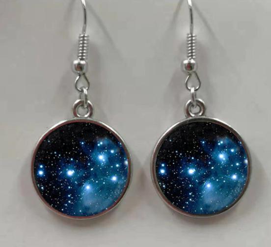 Deep Blue Galaxy Nebula Earrings
