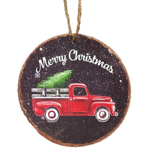 Merry Christmas Truck Round Ornament