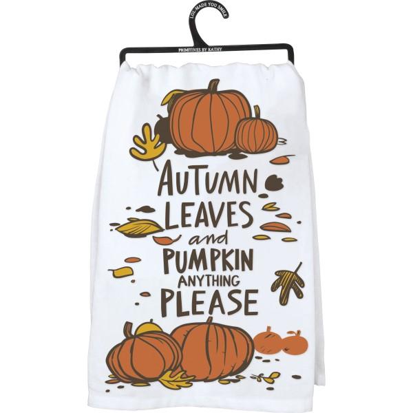 Tea Towel - Autumn Leaves and Pumpkin Please