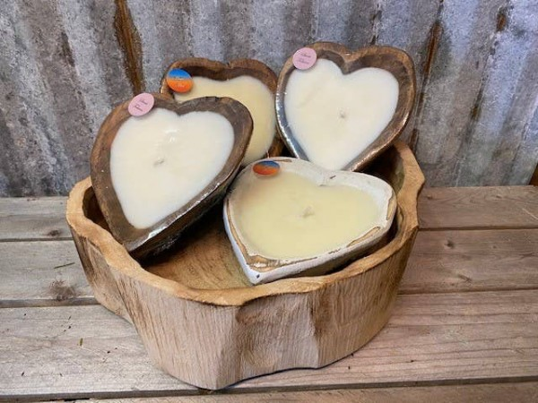 Sea Salt Candles in Sweet Heart Bowl (Natural)