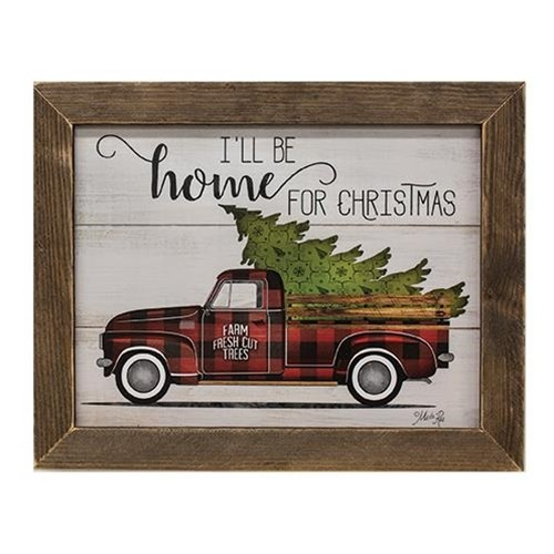 Home For Christmas Truck Print - Brown Lathe Frame
