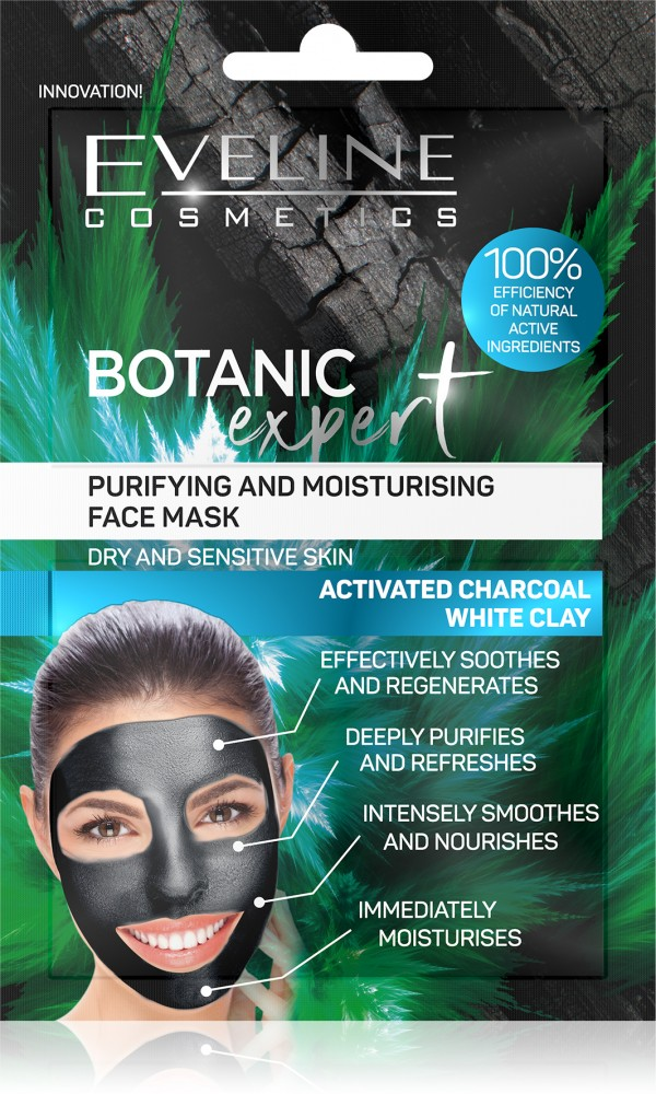 Botanic EXPERT PURIFYING AND MOISTURISING FACE MASK ACTIVATED CHARCOAL WHITE CLAY