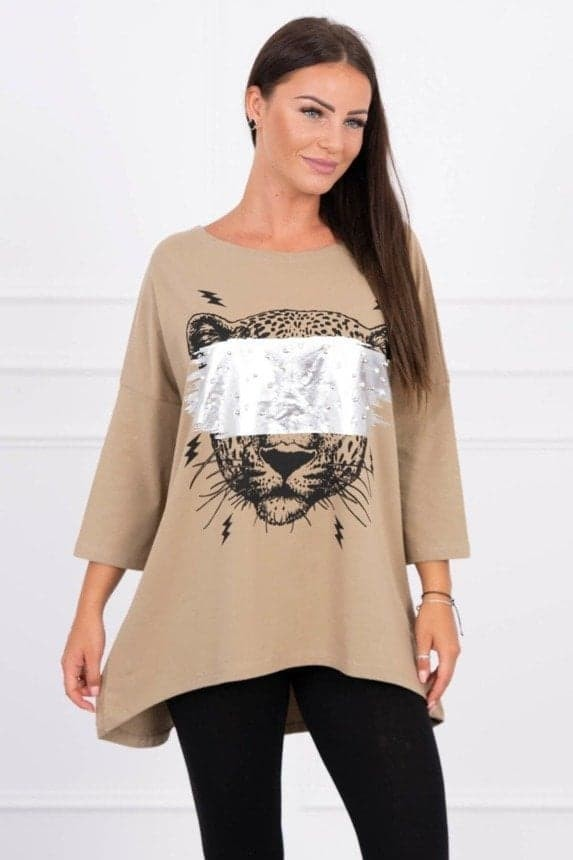 Brown Kesi Top with Animal and Pearls One Size