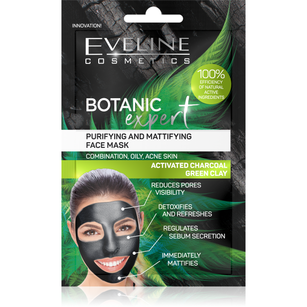 Botanic EXPERT PURIFYING AND MATTIFYING FACE MASK ACTIVATED CHARCOAL  GREE CLAY