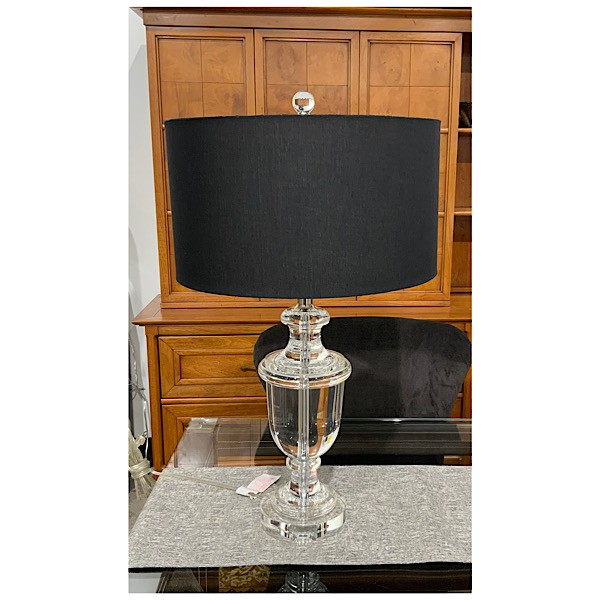 Wildwood Clear Crystal Urn Shaped Table Lamp with Black Shade, compare at ,700