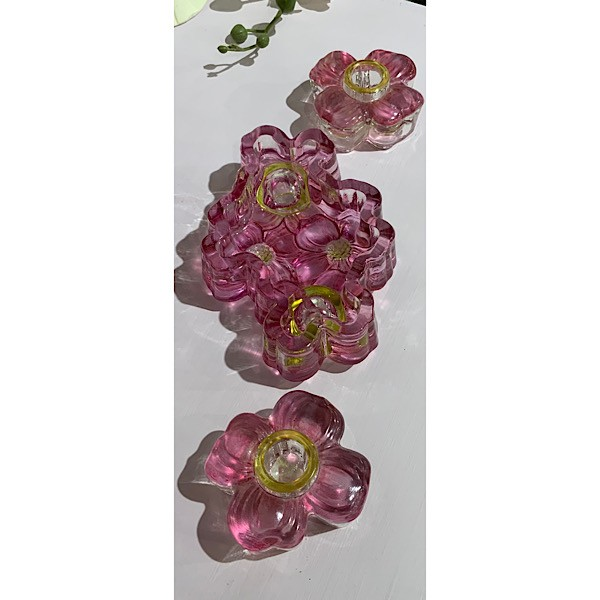 Pink and Yellow Floral Glass candle Holders