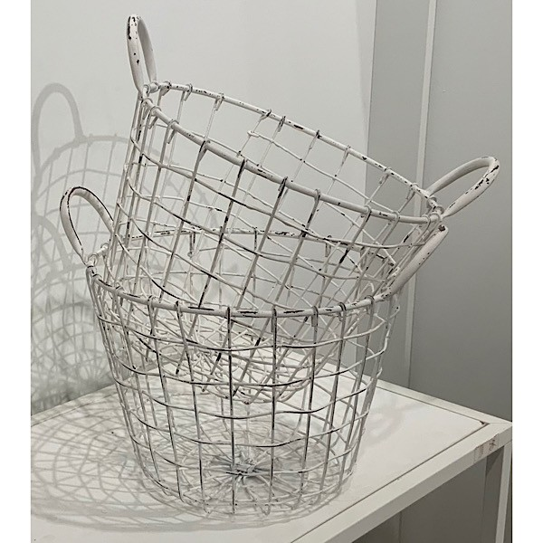 Vintage look White Wire Egg Baskets