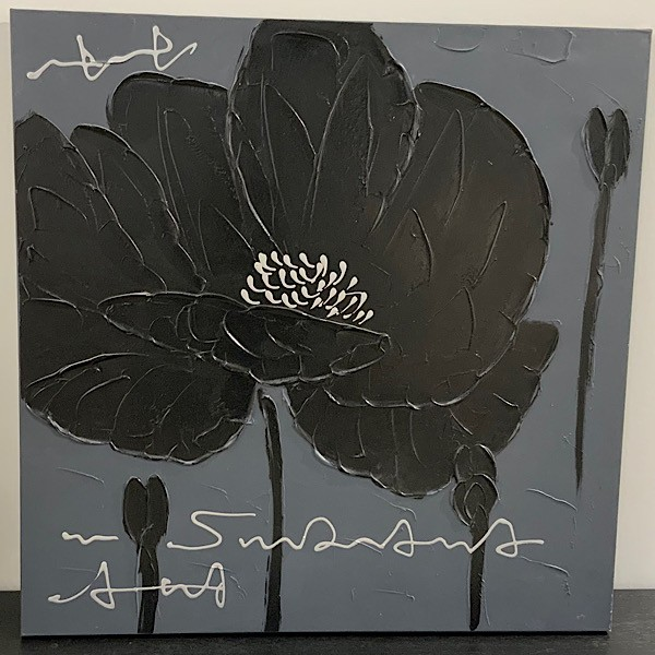 Floral Oil in Black and Grey