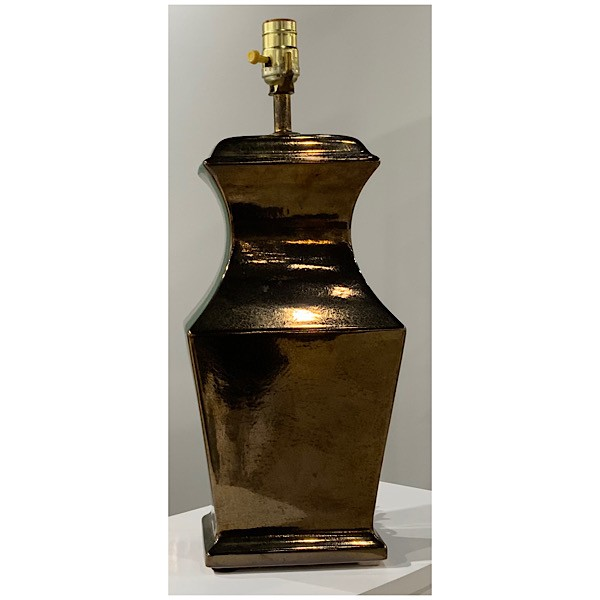 Bronze Ceramic Table Lamps. Pair