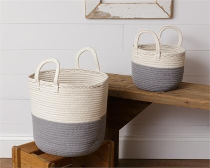 8B2301 Two Tone Rope Baskets