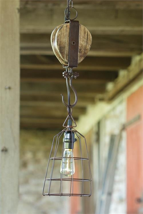 8L8593 Pendant Lamp Basket Shade Pulley