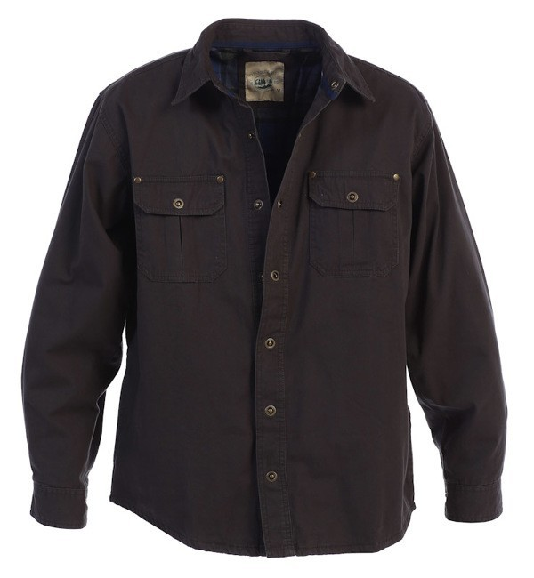 Snap Button Up Twill Shirt Jacket with Interior Flannel Lining