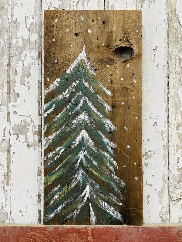 12-1-21 Class - Winter Tree on Barn Board