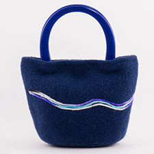 Blue Swirl Bag by Mette Pedersen (wool, acrylic)