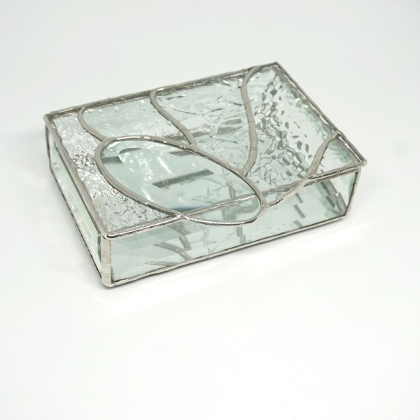 JT Stained glass box clear texture oval 4x6