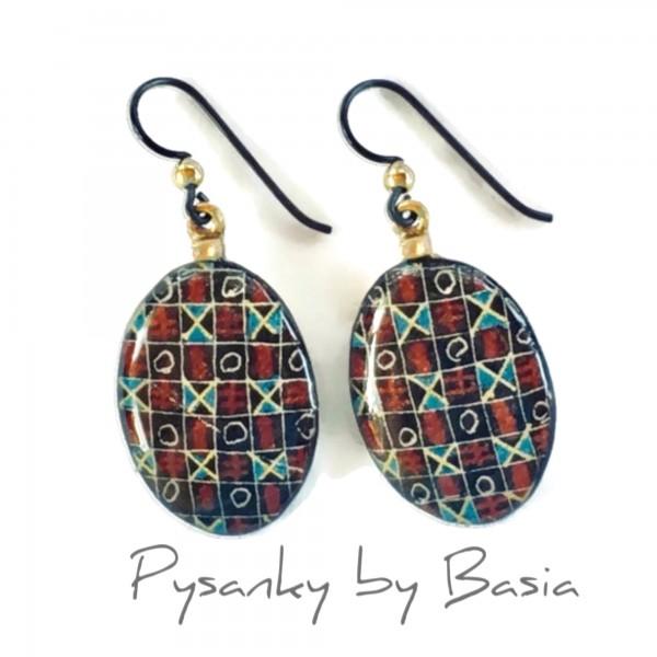 BA Earrings - Eggshell Jewelry - Black Traditional Grid