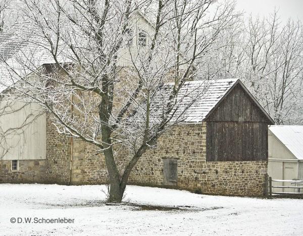 DS Stone Barn Winter - Photograph w/mat 16x20