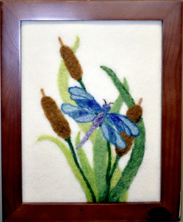 NG Wool painting -- Dragonfly and Cattails