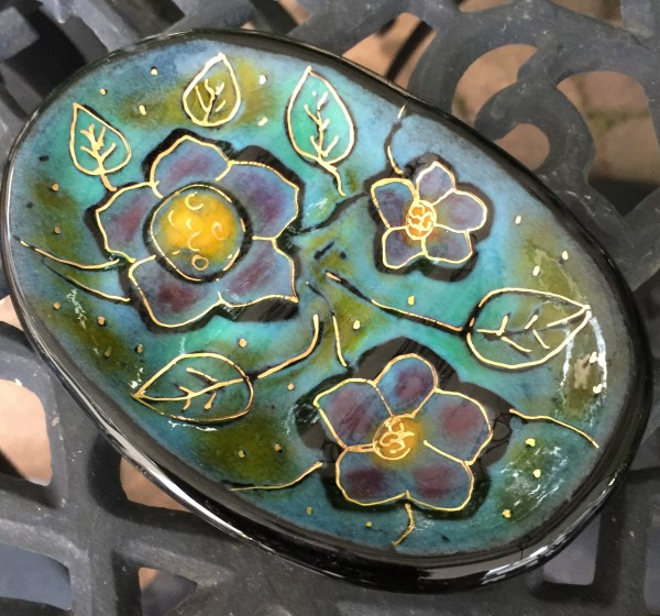 CF Batik Flower Soap Dish - Green/Black/Gold