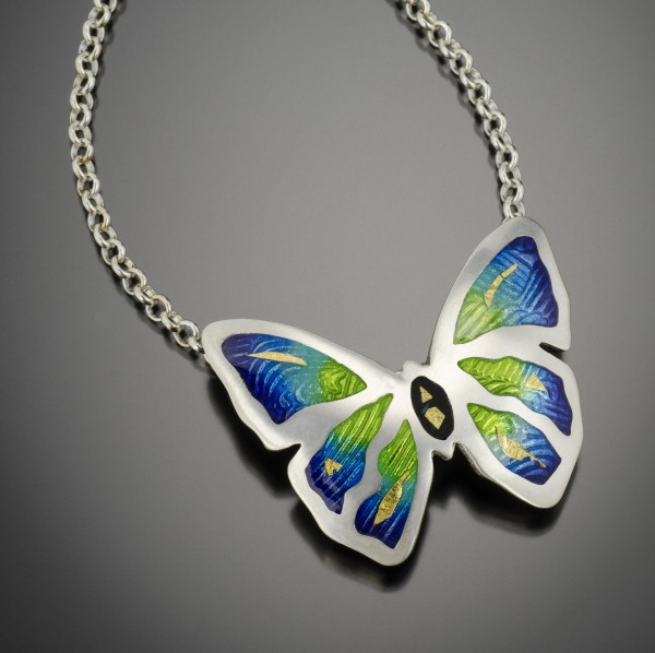 MP Necklace Enameled Butterfly Pendant