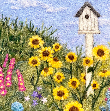 Birdhouse Sunflowers Needlefelt by Nancy Gibbs (Folk & Fiber)