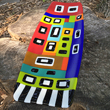 Ndebele rectangle plate by Carine Fram (Fused Glass)