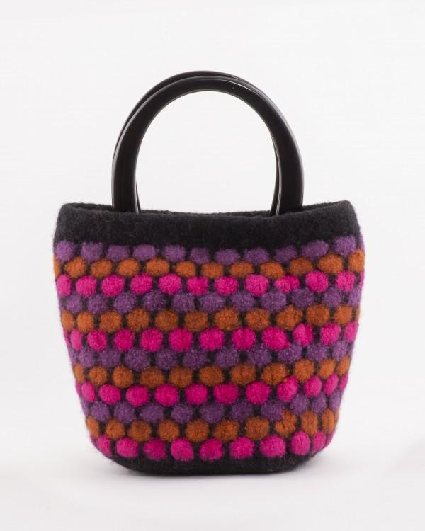 "Pink ""Popcorn"" Bag by Mette Pedersen (Fiber Arts)"