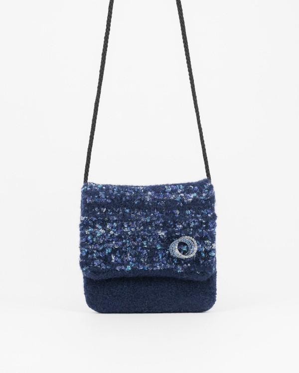 MP - Crossbody Bag - Navy Blue With Sparkly Turquoise, Blue & Purple Accents