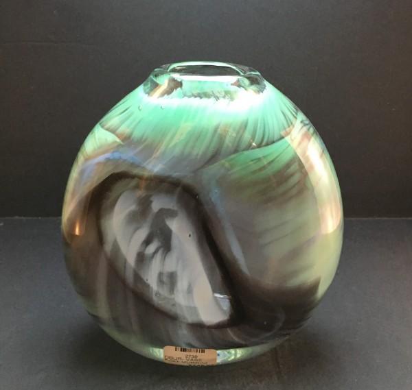 DB Hand blown Glass flat vase murrini watercolor series