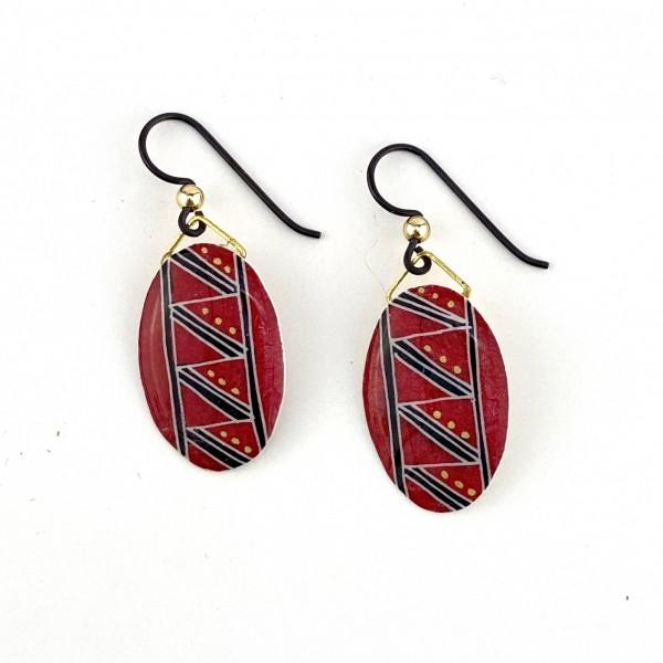 BA Earrings -  Pysanka/Eggshell:  Red and Black and Gold