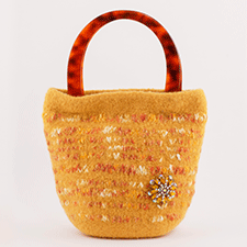Medium Yellow Handbag by Mette Pedersen (Wool, Acrylic, Vintage Brooch)