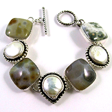 Jasper and Coin Pearl Bracelet by Yanina Siani (Jewelry)