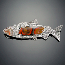 Salmon pin by Bette Conway (Jewelry)
