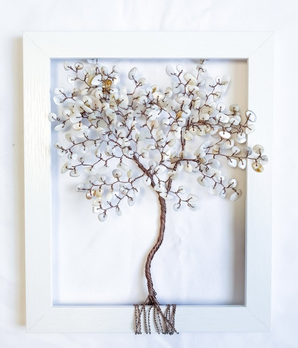 Sea Shell and Brown Coated Aluminum Wire Tree in an 8x10 White Frame.