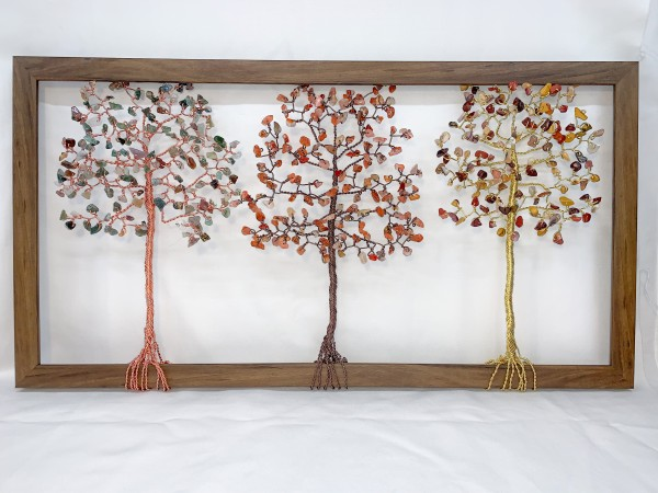 Fancy Jasper, Red Agate, and Mookiate Aluminum Wire Tree in Frame