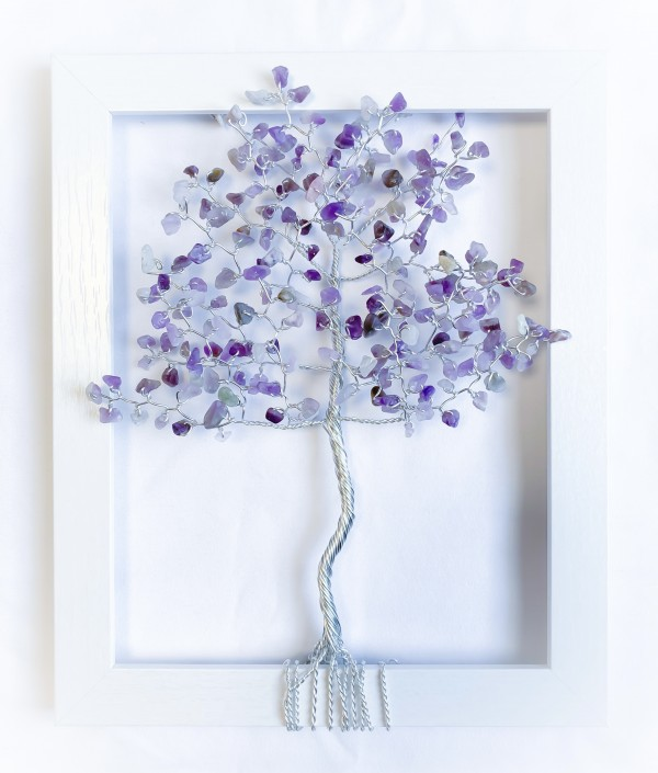 Amethyst and Aluminum Wire Tree in an 8x10 White Frame