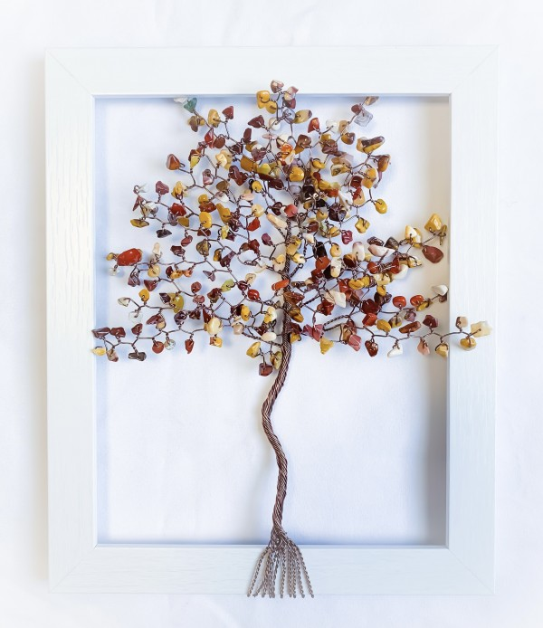 Mookiate and Brown Coated Aluminum Wire Tree in an 8x10 White Frame