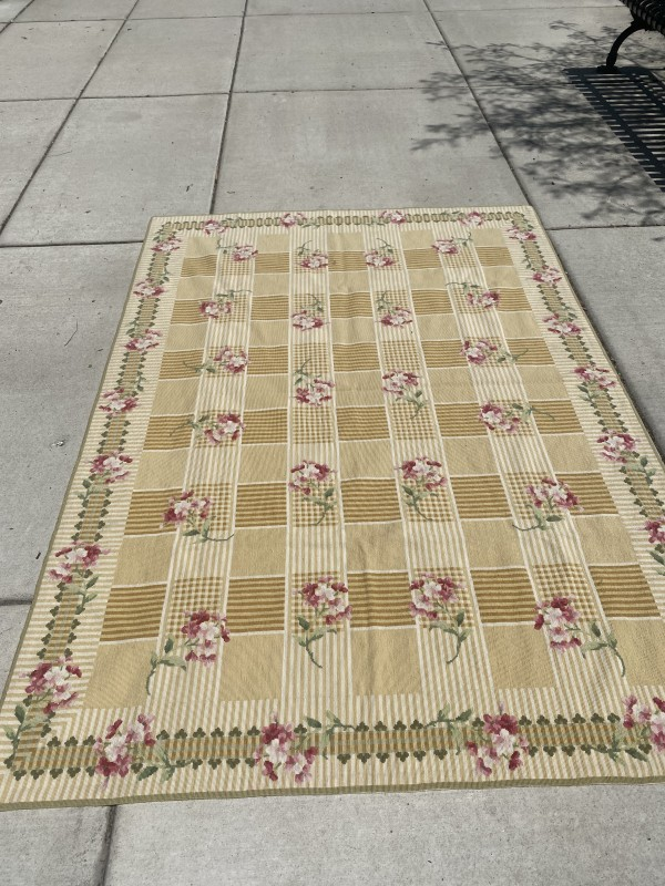 Yellow Check Needle Point Rug