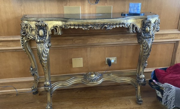 Marble Top Gold Base Console Table