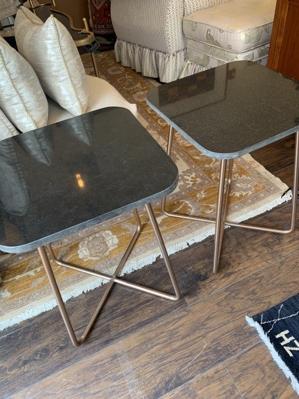 Pair of  Granite Top Tables on Copper Base