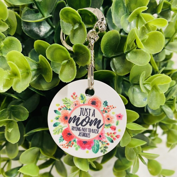 KB097-2 Just a mom Keychain