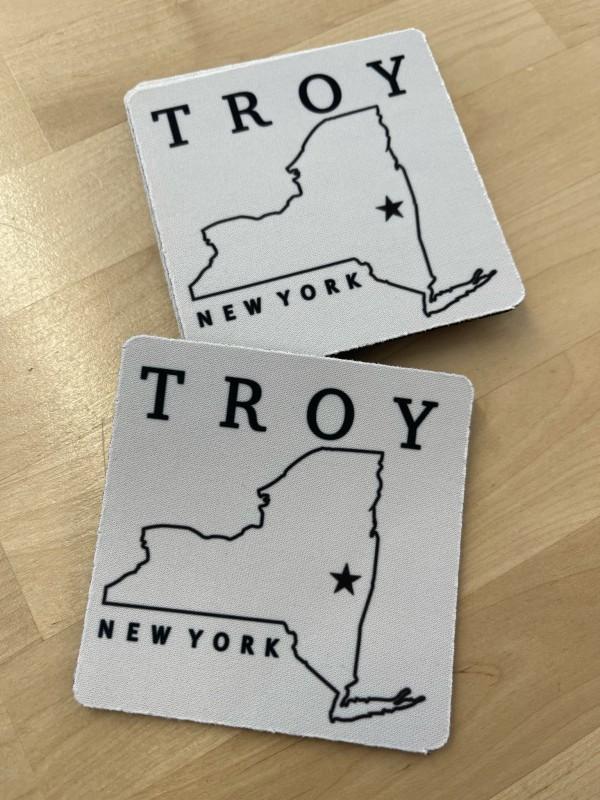 Troy, NY B&W Soft Rubber Coaster