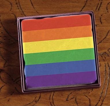 PRIDE Rainbow Just Stripes Marble Coasters