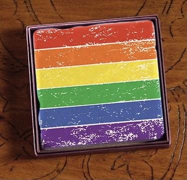PRIDE Rainbow Distressed Stripes Marble Coasters