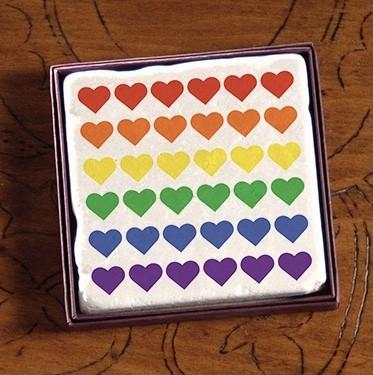 PRIDE Rainbow Just Hearts Marble Coasters