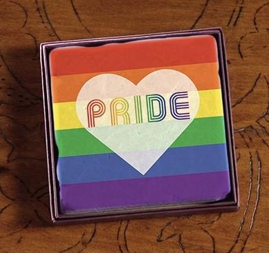 PRIDE Rainbow Large Heart Marble Coasters