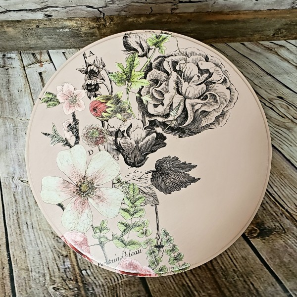 Pink floral side table