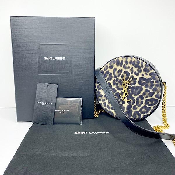 Saint Laurent 'Vinyle' Leopard Round Camera Bag